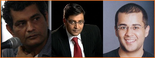 Day 1 Times of India Literary Carnival, 2011, discussion between Arnab Goswami, Mohammed Hanif and Chetan Bhagat.