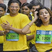 Shaan at the 2012 Mumbai Marathon for Salaam Bombay.