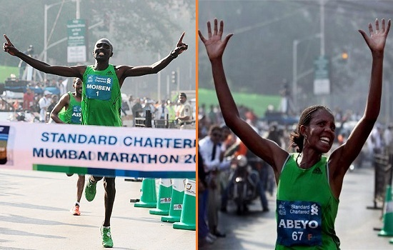 Winners of the 2012 Mumbai Marathon - Laban Moiben and Netsanet Abeyo