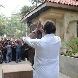View from Inside Amitabh Bachchan's Jalsa – Notice the beautiful temple near the entrance