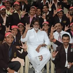 Amitabh at Jalsa with hearing impaired students.
