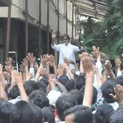 Amitabh at this home Jalsa where he meets fans on Sunday