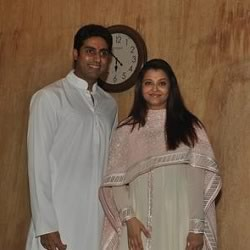 Abhishek and Aiswarya Rai Bachchan at their office in Janak