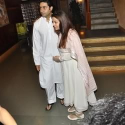 Abhishek and Aiswarya Rai Bachchan meet the press at their Janak office