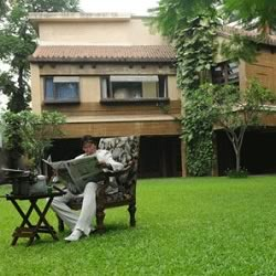Amitabh Bachchan Sitting On The Lush Green Lawns Of Prateeksha.