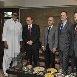 Amitabh in his living room at Prateeksha with the Polish Ambassador