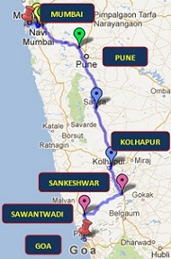 Mumbai To Goa Road Map, Route and Directions.