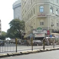 Cafe Mondegar and Cafe Leopold at Bombay's Colaba Causeway. Colaba is a popular tourist shopping area.