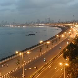 Beautiful Marine Drive, also called Queen's Necklace is a popular tourist destination in Bombay