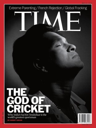 Best sportsman in the world - Sachin Tendulkar is on the cover of TIME Magazine. TIME considers him the GOD OF CRICKET.
