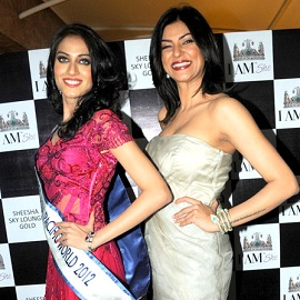 Picture of Sushmita Sen with I AM SHE's Himangini Singh Yadu, who won Miss Asia Pacific World 2012