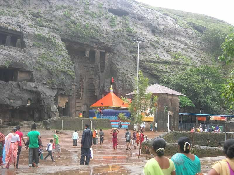 The ancient Buddhist Karla Caves at Lonavala - Khandala near Mumbai are major tourist attractions