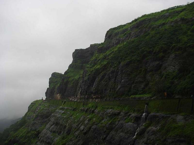 Photo of Malshej Ghat waterfalls in the monsoon. Malshej is a hill station near Mumbai with a MTDC hotel.