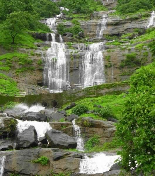 Many waterfall during he rains on the way to hill station Matheran, near Mumbai.