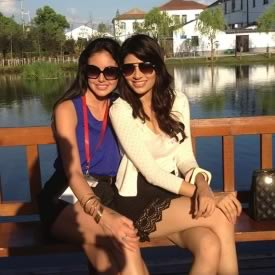 Vanya Mishra with room mate Miss Columbia, at Shang Lake for Miss World 2012.