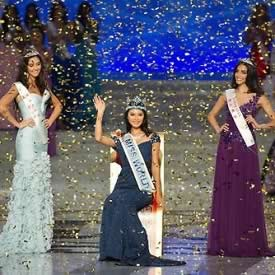 Miss World 2012 winner Miss China PR, Wenxia Yu, 1st Runner Up Miss Wales, Sophie Elizabeth Moulds, 2nd Runner Up Miss Australia, Jessica Michelle Kahawaty