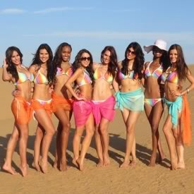 Picture of Miss World 2012 contestants in swim suit, bikini, beachwear for Beach Beauty event