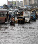 Traffic jam and flood waters during Mumbai's rains. Mumbai's monsoons causes chaos on the roads