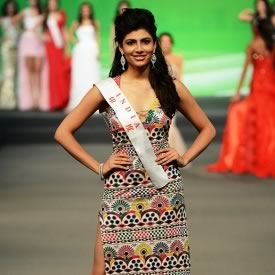 For 2012 Miss World Fashion Designer Award, Malini Ramani designed Miss India, Vanya Mishra's dress