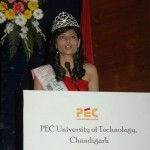 Miss India Vanya Mishra at her engineering college PEC, Chandigarh.