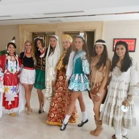 Vanya Mishra and fellow Miss World 2012 Contestants in their traditional national costume