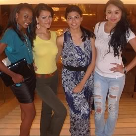 Miss India Vanya Mishra with fellow participants at Miss World 2012 in China