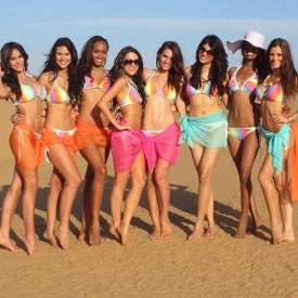 Picture of Vanya Miss in swimsuit with fellow contestants at Miss World 2012 Beach Beauty Event.