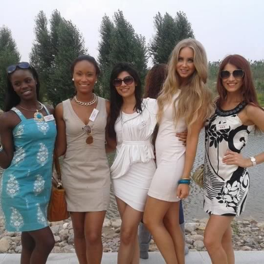 Vanya Misra With fellow participants of the 2012 Miss World beauty pageant in Ordos, China
