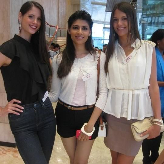 Miss India, Vanya Mishra, With Iris, Miss Denmark at 2012 Miss World