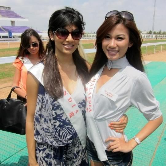 Miss India and Miss Malaysia enjoying an outing at Miss World 2012