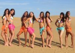 Miss India, Vanya Mishra, in a Bikini with other contestants at the Swimsuit Beach Fashion Event at Miss World 2012
