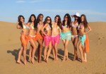 Vanya Mishra (India) wearing the Miss World 2012 Bikini with fellow contestants for the Beach Event