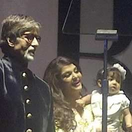 Amitabh Bachchan at his 70th Birthday party with granddaughter Aaradhya and daughter-in-law Aishwarya.