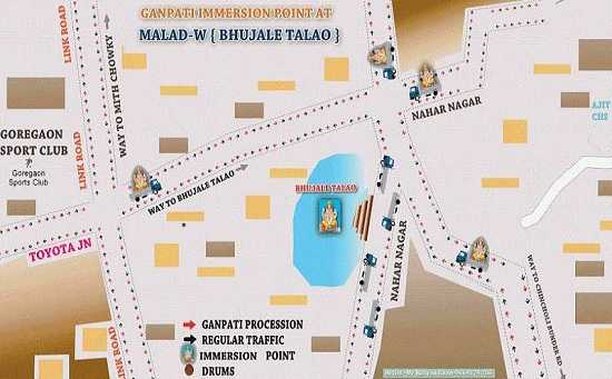 Ganesh Visarjan Road Route map for Bhujale Talao in Malad (West)
