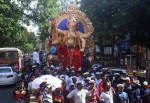 The 2012 Upnagaracha Raja is on his way home to Borivali in North Mumbai.