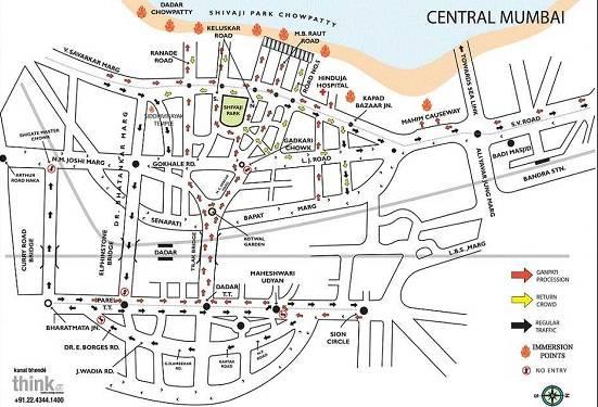 Ganesh Immersion route for Dadar, Shivaji Park, Central Mumbai