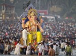 Ganesh Visarjan (Immersion) in Mumbai in 2012. Large crowds at Bombay's beaches for Ganpati Visarjan