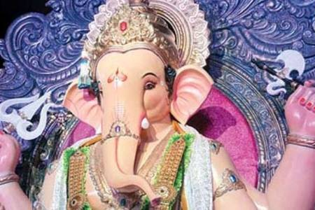 Mumbai 2012 Ganesh Chaturti.  Lalbaug's Ganesh Gali Ganpati is  Mumbaicha Raja