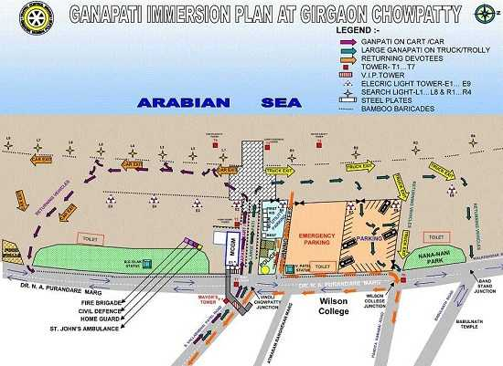 Road Map for Ganpati Visarjan at Girgaon, Chowpatty