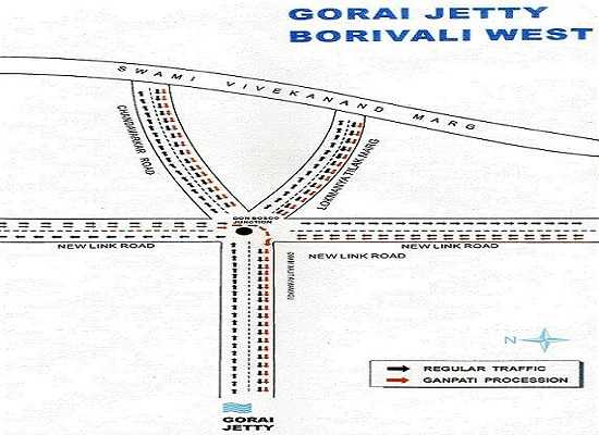 Ganesh Immersion Road Direction for Gorai Jetty, Borivali (West)