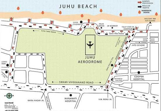 Ganesh Visarjan Road Route for Juhu Chowpatty Beach in Mumbai