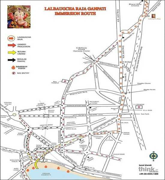 Lalbaugcha Raja Ganesh Visarjan Route from Lalbaug To Chowpatty