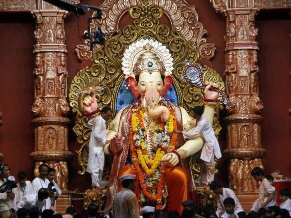 Majestic throne and setting for 2012's Lalbaugcha Raja Ganesh Statue.