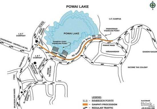 Ganesh Visarjan Route Map for Powai Lake Ganesh Ghat and Pawarwadi