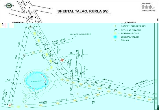 Ganpati Immersion Road Route Map for Sheetal Talao, Kurla (West)