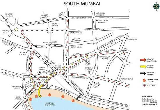 Ganpati Immersion Road Map for South Mumbai, Chowpatty, Girgaum