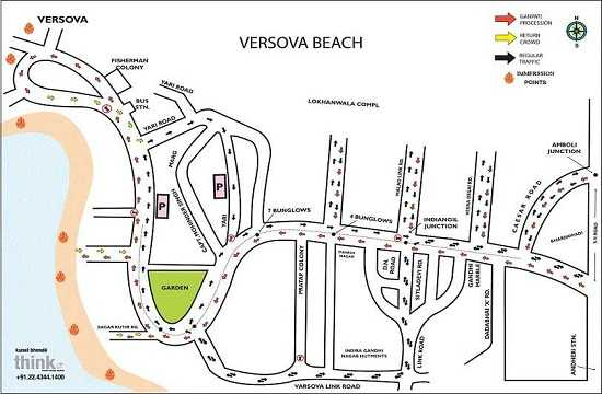 Road route map for Ganesh Visarjan at Versova Beach, Mumbai