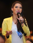 2012 Miss India International, Rochelle Rao, participating in a discussion at Miss International Pageant
