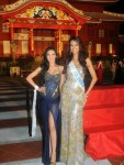 At 2012 Miss International Pageant Opening, Miss India, Rochelle Rao, poses with Miss Columbia