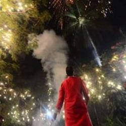 Amitabh Bachchan celebrating Diwali at his house, Jalsa.